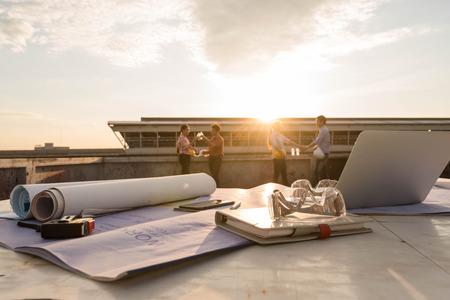 Photo pour Work desk of construction engineer outdoor at after work days - image libre de droit