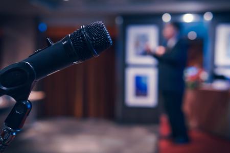 Photo pour Wireless microphone in seminar room - image libre de droit