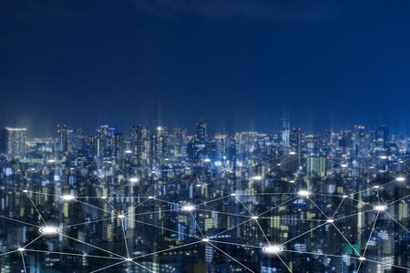 Photo pour Cityscape with connecting dot technology of smart city conceptual - image libre de droit