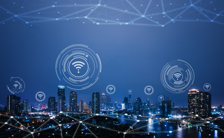 Photo pour Cityscape with connecting dot technology of smart city conceptual - image libre de droit