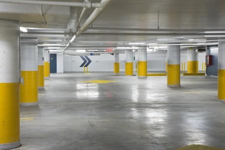 Interior view of a new underground parking garage