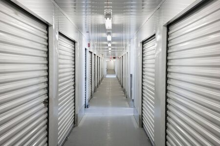 Photo for A perspective view down a corridor of storage units - Royalty Free Image