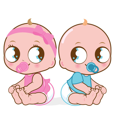 Illustration pour Vector Illustration of two cute babies a baby girl and a baby boy - image libre de droit