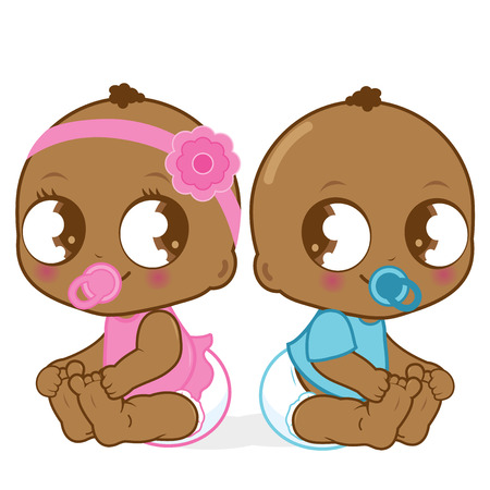 Illustration pour Cute African American baby girl and boy - image libre de droit