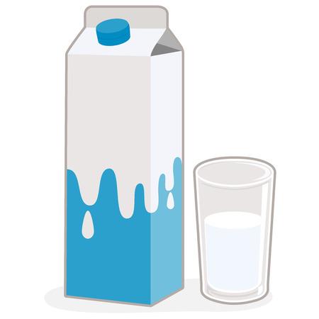 Vektor für Milk carton and glass of milk - Lizenzfreies Bild