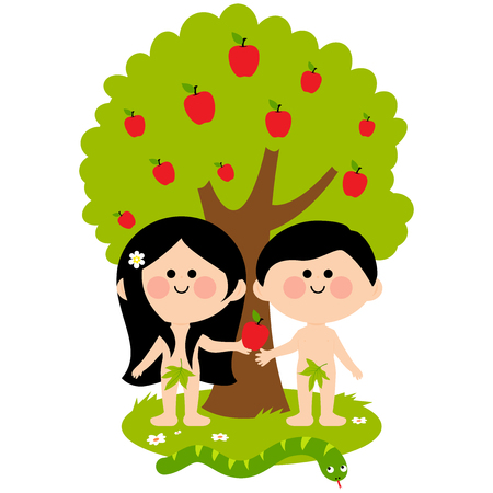 Adam, Eve and the snake under an apple tree. Eve giving apple to Adam.
