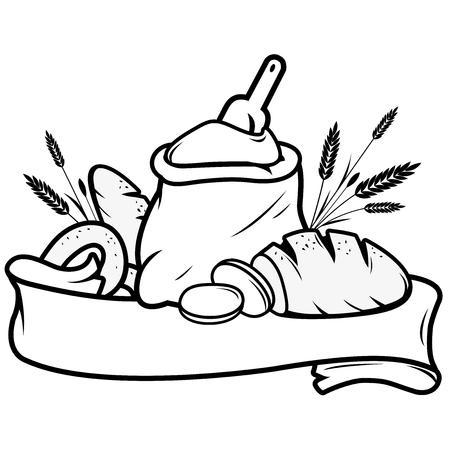 Vektor für Flour sack , bread, barley and bakery sign banner - Lizenzfreies Bild