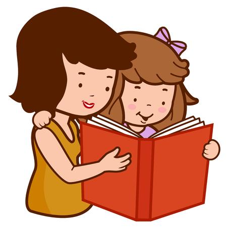 Foto de Mother and daughter reading a book. - Imagen libre de derechos