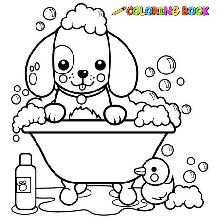 Illustration pour Dog taking a bath coloring book page - image libre de droit