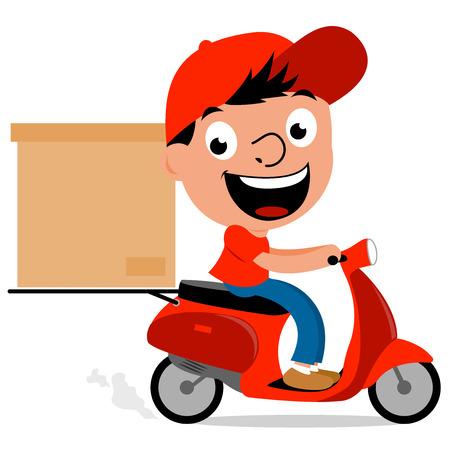 Illustration pour Delivery man in scooter - image libre de droit