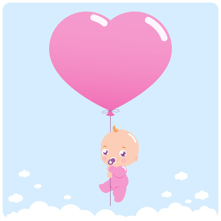 Photo pour Newborn baby girl flying in the sky holding a heart shaped balloon. - image libre de droit