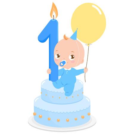 Vektor für Birthday cake baby boy - Lizenzfreies Bild
