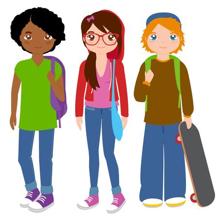Illustration pour Group of teenager students - image libre de droit