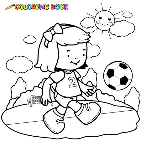 Illustration pour Girl soccer player coloring page . - image libre de droit