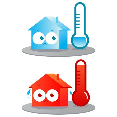 Ilustración de A very hot and cold house - Imagen libre de derechos