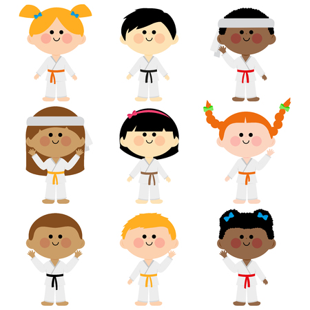 Children wearing martial arts uniforms: karate, Taekwondo, judo, jujitsu, kickboxing, or kung fu suits vector set