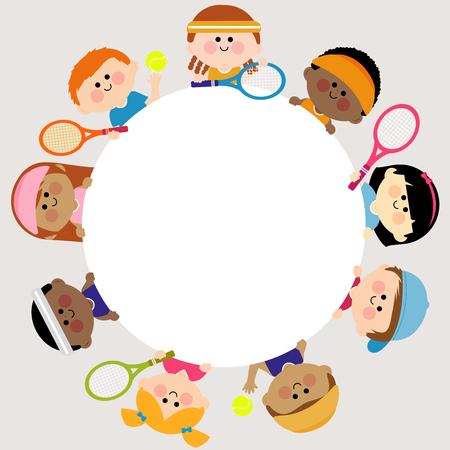 Ilustración de Round blank banner and kids tennis players. - Imagen libre de derechos