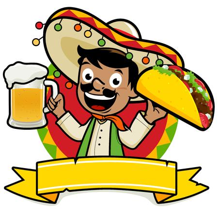 Illustration pour Mexican man holding a cold beer and a taco - image libre de droit