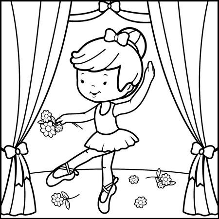 Illustration pour Coloring book page ballerina girl dancing on stage - image libre de droit