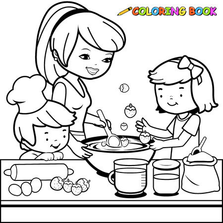 Illustration for Mother and children cooking in the kitchen coloring book page - Royalty Free Image