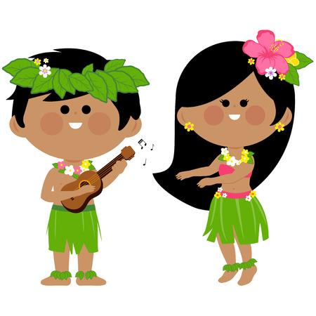 Illustration for Hawaiian children playing music and hula dancing - Royalty Free Image