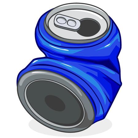 Illustration pour Crushed tin soda can - image libre de droit