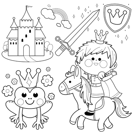 Illustration for Prince riding a horse fairy tale set. Black and white coloring page illustration - Royalty Free Image
