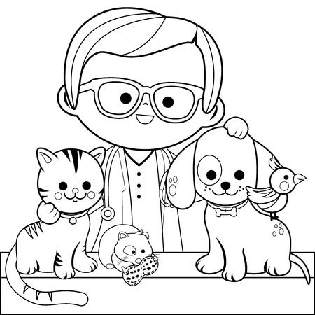Illustration pour Veterinarian and pets. Coloring book page - image libre de droit