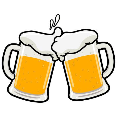 Ilustración de Two full beer mugs on a beer toasting concept vector illustration - Imagen libre de derechos