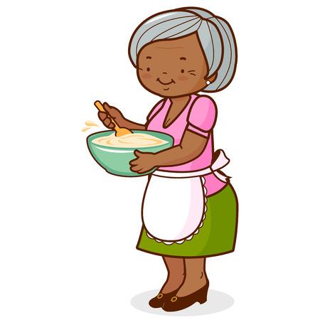 Vektor für An old black woman, holding a bowl and cooking. Vector illustration - Lizenzfreies Bild