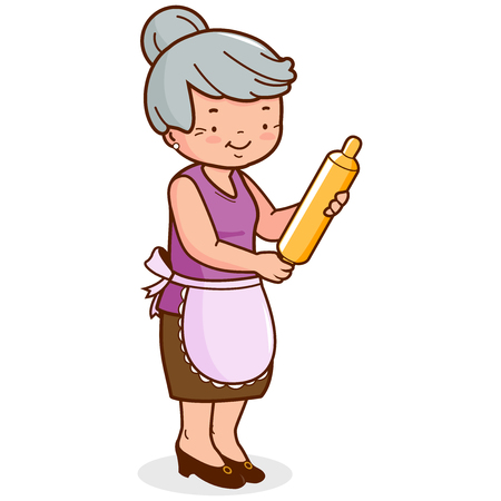 Vektor für An old woman, holding a rolling pin and cooking. Vector illustration - Lizenzfreies Bild
