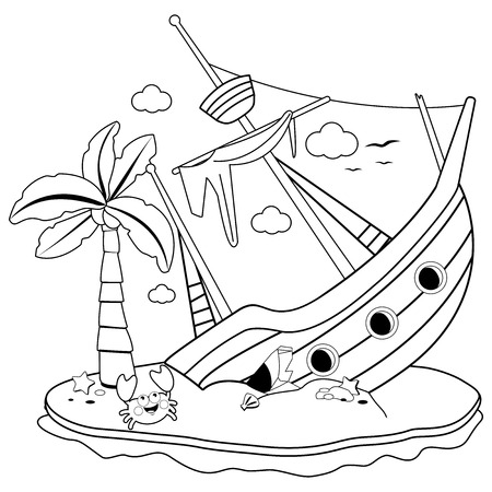 Illustration pour Shipwreck on an island. Black and white coloring book page - image libre de droit