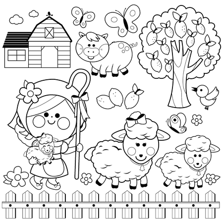 Photo pour Shepherdess girl and animals at the farm, Black and white coloring book page - image libre de droit