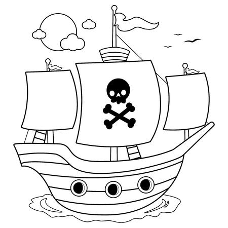 Ilustración de Pirate ship. Black and white coloring book page - Imagen libre de derechos
