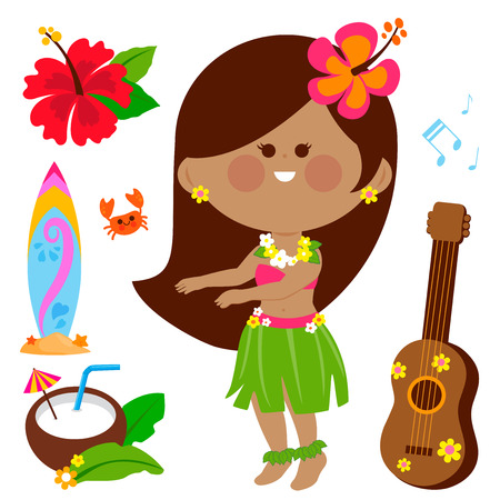 Illustration for Vector illustration collection of a Hawaiian hula dancer girl and other beach summer vacation design elements. - Royalty Free Image
