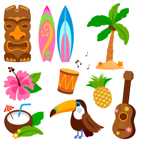 Illustration pour Hawaiian vector collection with objects including a toucan bird, tiki mask and other summer vacation design elements. - image libre de droit