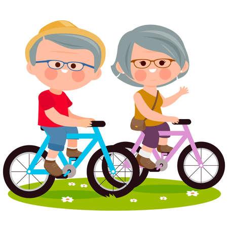 Illustration pour Elderly couple riding their bicycles at the park. Vector illustration - image libre de droit