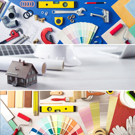 Photo pour DIY home improvement and renovation banners set with work tools, swatches and model house - image libre de droit