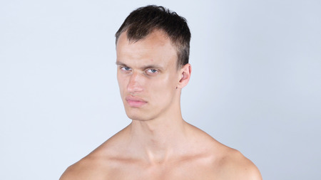 No Closeup portrait young angry serious man showing his denial