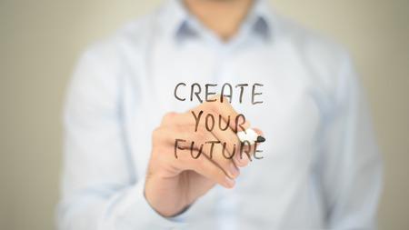 Photo pour Create Your Future,  Man writing on transparent screen - image libre de droit