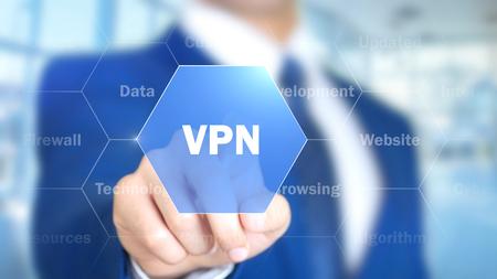 Foto de VPN, Man Working on Holographic Interface, Visual Screen - Imagen libre de derechos