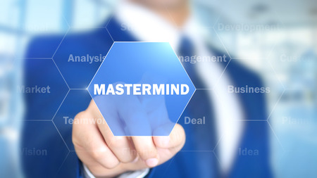 Photo for Mastermind, Man Working on Holographic Interface, Visual Screen - Royalty Free Image