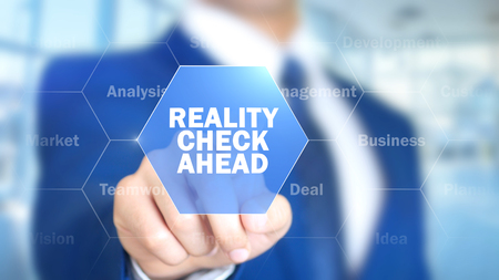 Photo pour Reality Check Ahead, Man Working on Holographic Interface, Visual Screen - image libre de droit