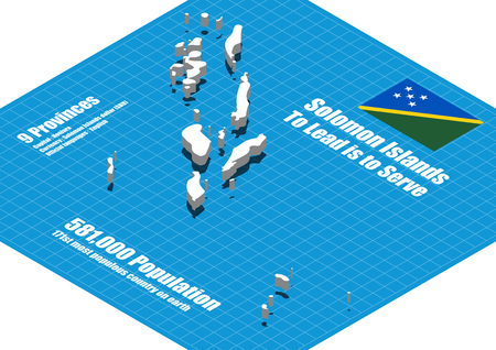 Solomon Islands map vector three dimensional: Royalty-free
