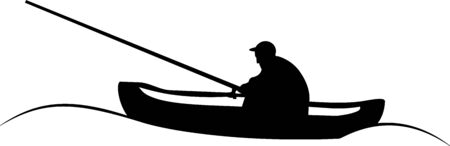 black and white vector illustration of a fisherman in a boat, a fisherman fishes in a river, sea, ocean, lake