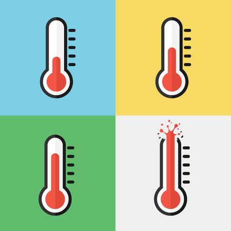 Broken thermometer ( Overheat ) ( Flat design )
