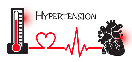 Ilustración de Essential or Primary Hypertension ( high blood pressure )( sphygmomanometer connect to heart ) ( flat design ) ( NCD concept ( Non communicable diseases )) ( Heart attack ) - Imagen libre de derechos