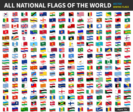 Illustration pour All official national flags of the world . Waving design . Vector . - image libre de droit