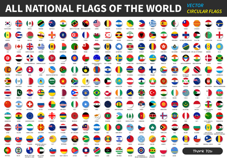 Illustration pour All official national flags of the world . circular design . Vector . - image libre de droit