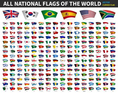 Illustration for All national flags of the world . Curved design . White isolated background . Elements vector . - Royalty Free Image